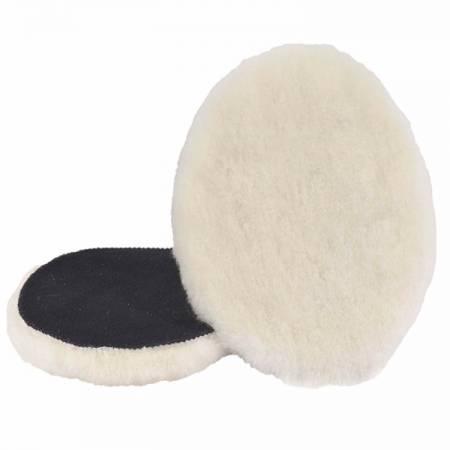 Box of 2 wool polishing caps Velcro, D180 mm